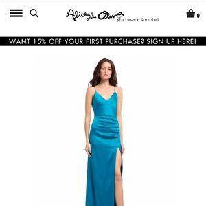 ALICE + OLIVIA Fallon Ruched Maxi Dress (Teal)